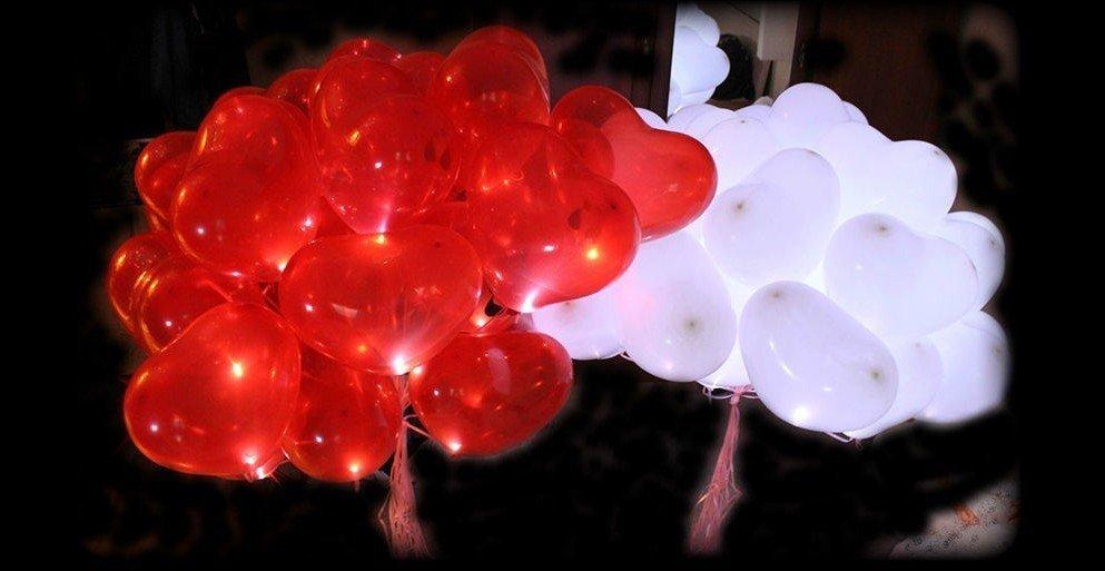 Светящиеся сердца 25 шт ( красный, розовый, белый )