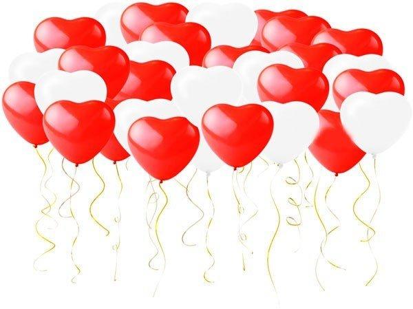 Сердца под потолок 100 шт (красный,розовый,белый)