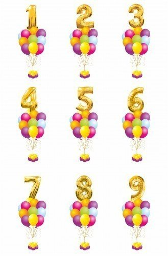 Букет из 12 шаров и цифра