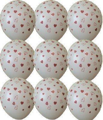 Шарики под потолок сердечки белые 1 шт