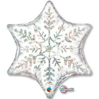 Шар фигура 2 Снежинка белая голограф