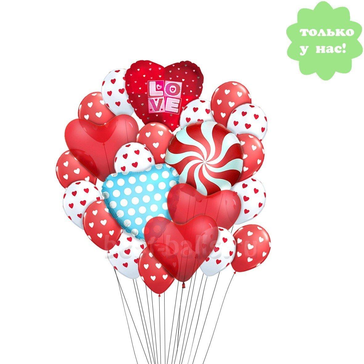 Букет из шариков сердечки