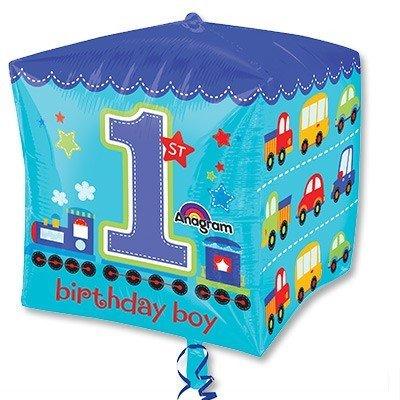 Шар 3D КУБ 1-й День Рожденья мальчик