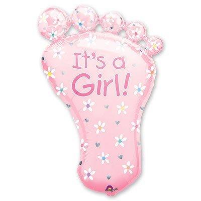 Шар фигура Стопа девочки розовая