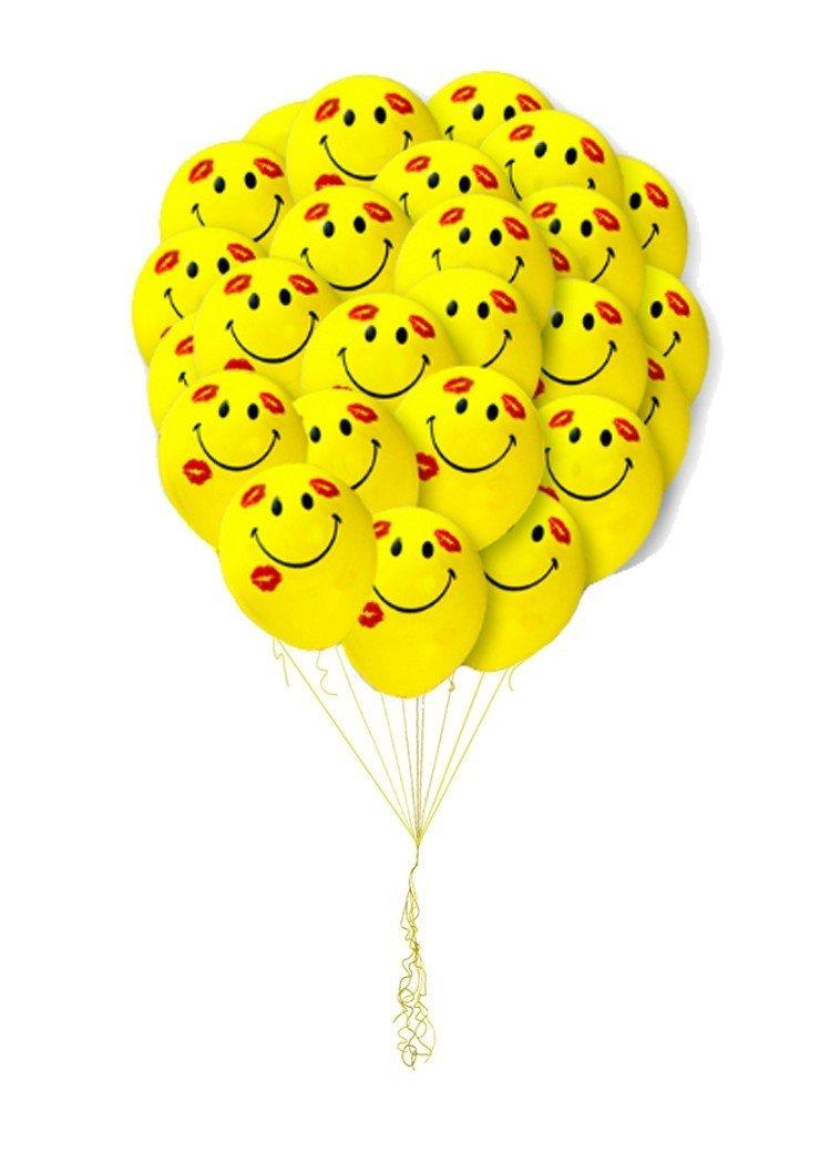 Облако шариков Смайлы в поцелуях   25 шт