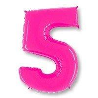 Шар цифра 5 Яркий Розовый