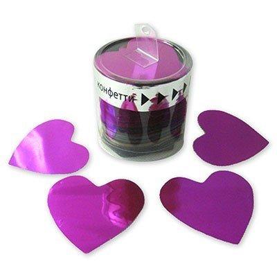 Конфетти Сердца фол негор розовые, 100 гр