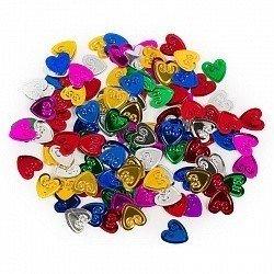 Конфетти эмбоссированные сердца серебро 17 гр