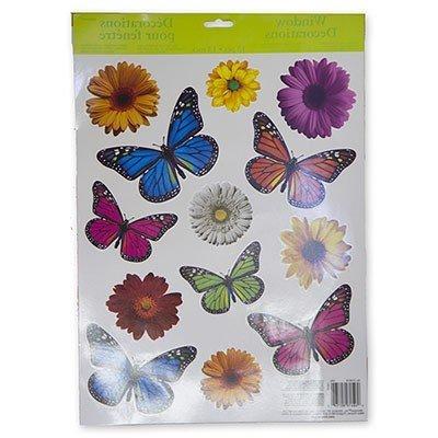 Наклейки на окно Бабочки Цветы, 13 штук