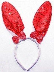 Ободок с ушками Красный бантик зайка в горошек блестящий