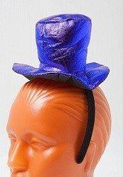 Ободок Синяя шляпка блестящая