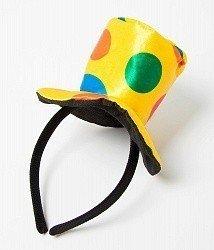 Ободок Желтая шляпка в разноцветный горох