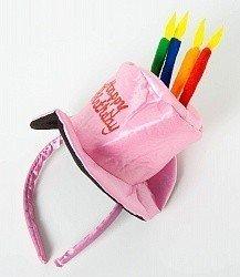 Ободок Розовая шляпка со свечами Happy birthday