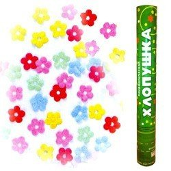Пневмохлопушка 40 см Метализированные цветы