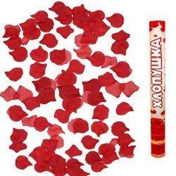 Пневмохлопушка 40 см Лепестки роз Красные
