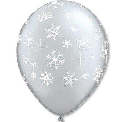 Облако шаров Снежинки Silver 100 шт