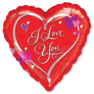 Шар ILY сердце с сердечками, 46 см