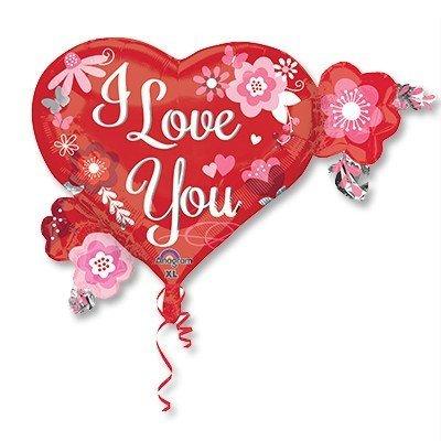 Шар фигура ILY Сердца и цветы