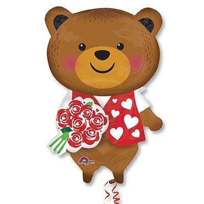 Шар фигура Медведь с розой
