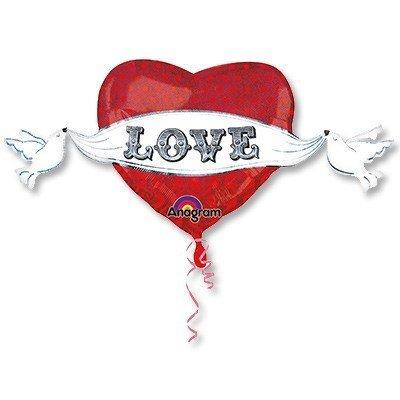 Шар фигура Love Сердце с крыльями