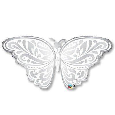 Шар ФИГУРА Бабочка серебро