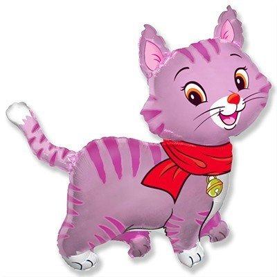 Шар фигура Кошечка с шарфом розовая