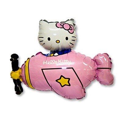 Шар фигура Hello Kitty самолет розовый