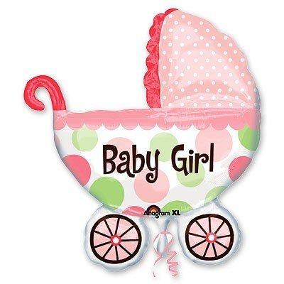Шар фигура Коляска детская розовая