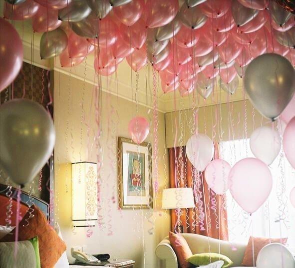 Шарики под потолок  Розовое серебро 50 шт