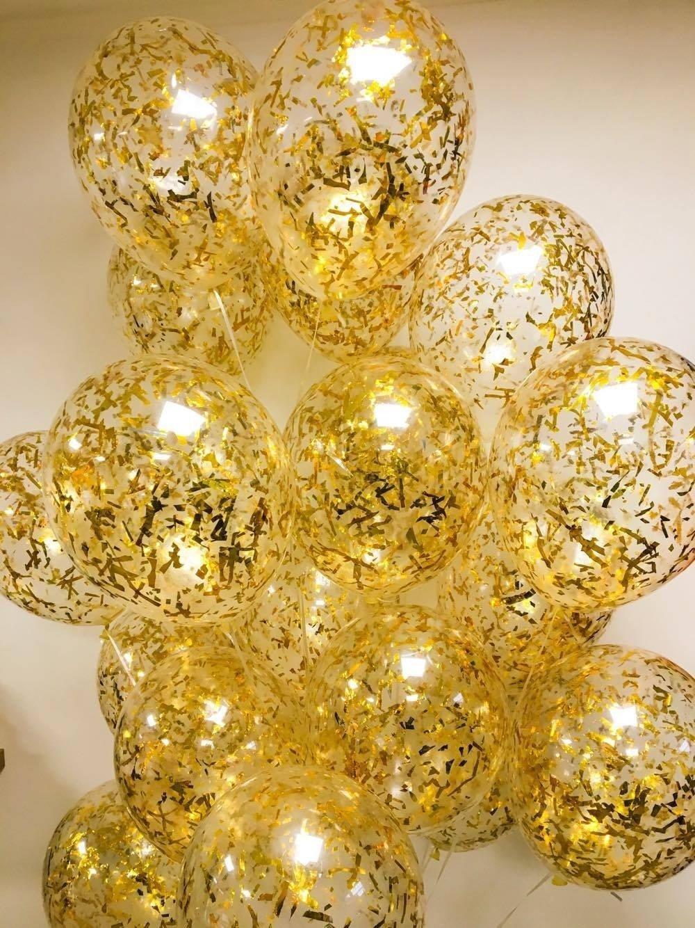 Шарики под потолок Конфети  золото 100шт