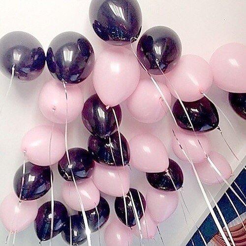Шарики под потолок Розово Черные 100шт