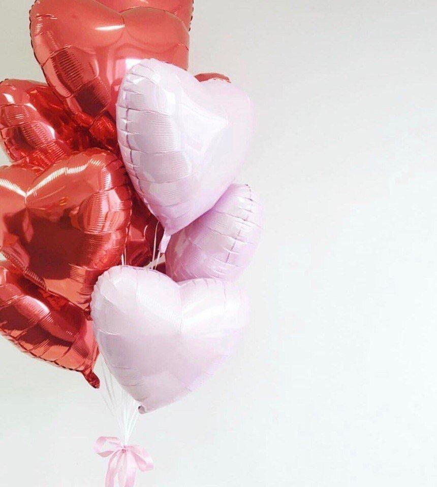 Букет из шаров  Красное и розовое