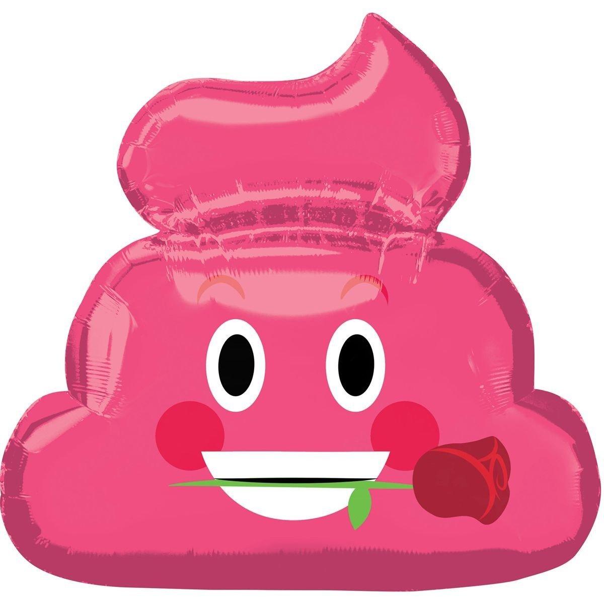 Шар фигура Смайл какашка розовая