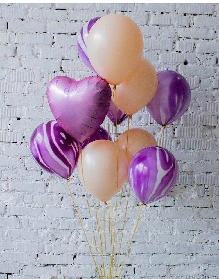 Букет из шаров Фиолетовый мрамор