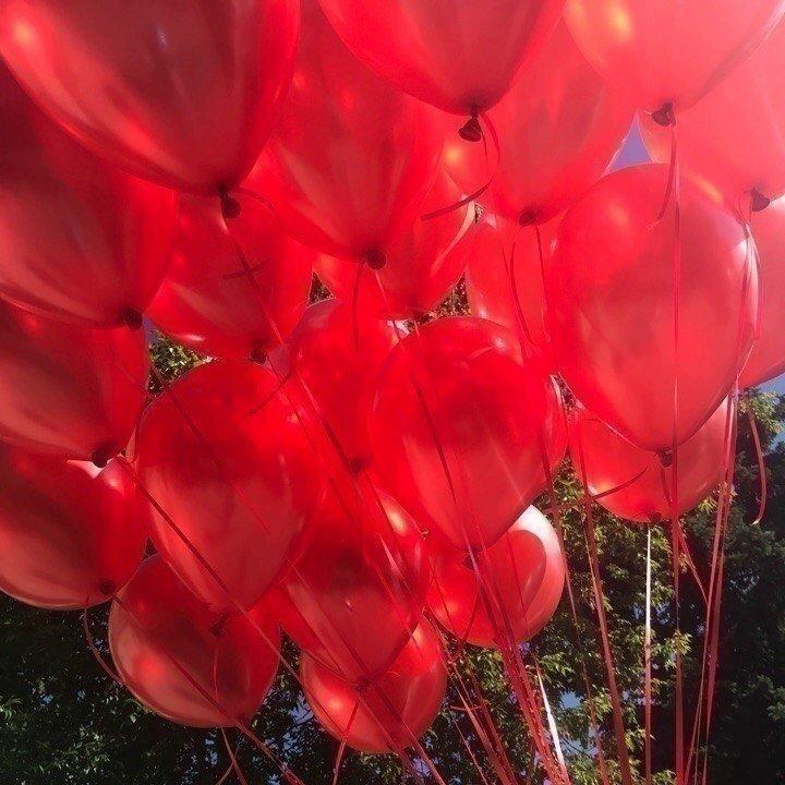 Облако красных шаров металлик 25 шт