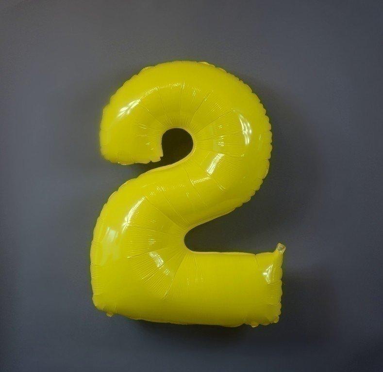 Шар цифра 2 Яркий Желтый