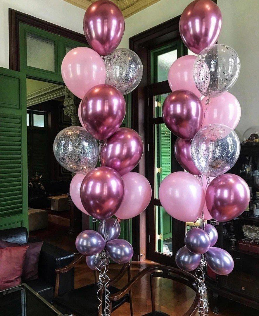 Фонтаны из шаров в розовом цвете