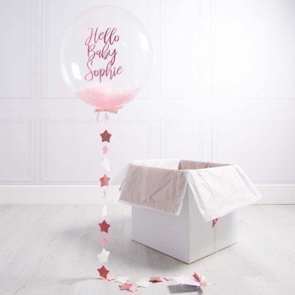 Коробка с шарами «На выписку» розовый