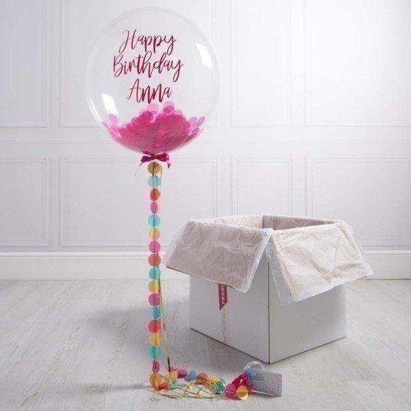 Коробка с шарами «С днем рождения» розовый