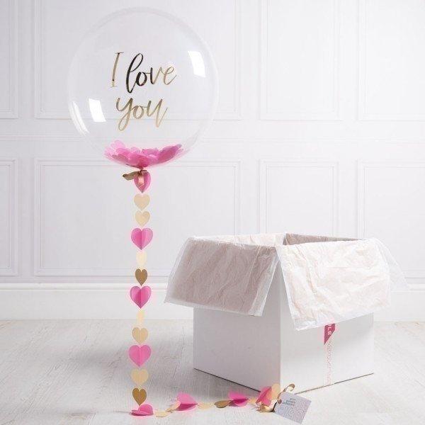 Коробка с шарами «Я тебя люблю»