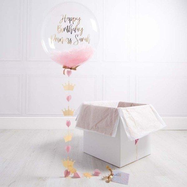 Коробка с шарами «С днем рождения» для принцессы
