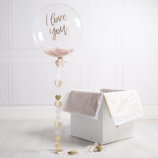 Коробка с шарами «Я тебя люблю» золотой