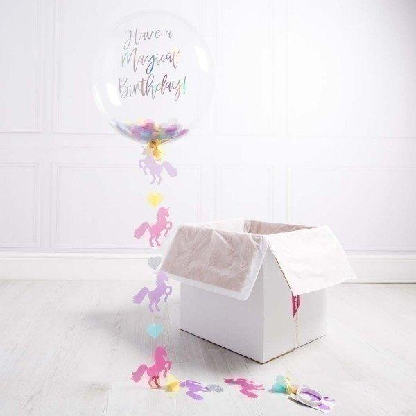 Коробка с шарами «С днем рождения» разноцветный