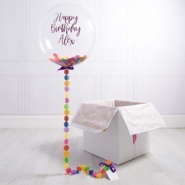 Коробка с шарами «С днем рождения» разноцветные конфетти