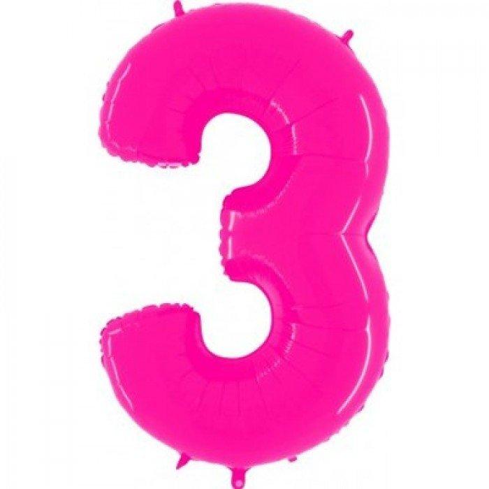 Шар цифра 3 Яркий Розовый