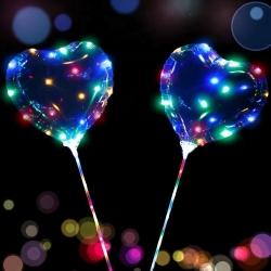 Светящиеся Шары Bubble (Баблс-Бобо) Сердце со светящей лентой на палочке