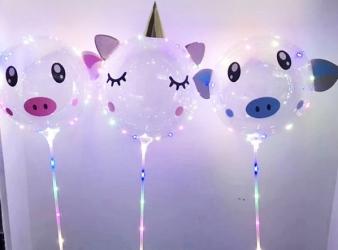 Светящиеся Шары Bubble (Баблс-Бобо) с наклейками со светящей лентой на палочке