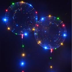 Светящиеся Шары Bubble (Баблс-Бобо) с гелием и светящейся лентой