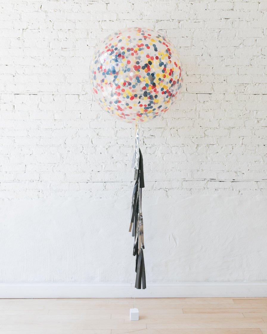 Большой шар с круглым конфетти (желтым,синим,красным,серебристым) на гирлянде