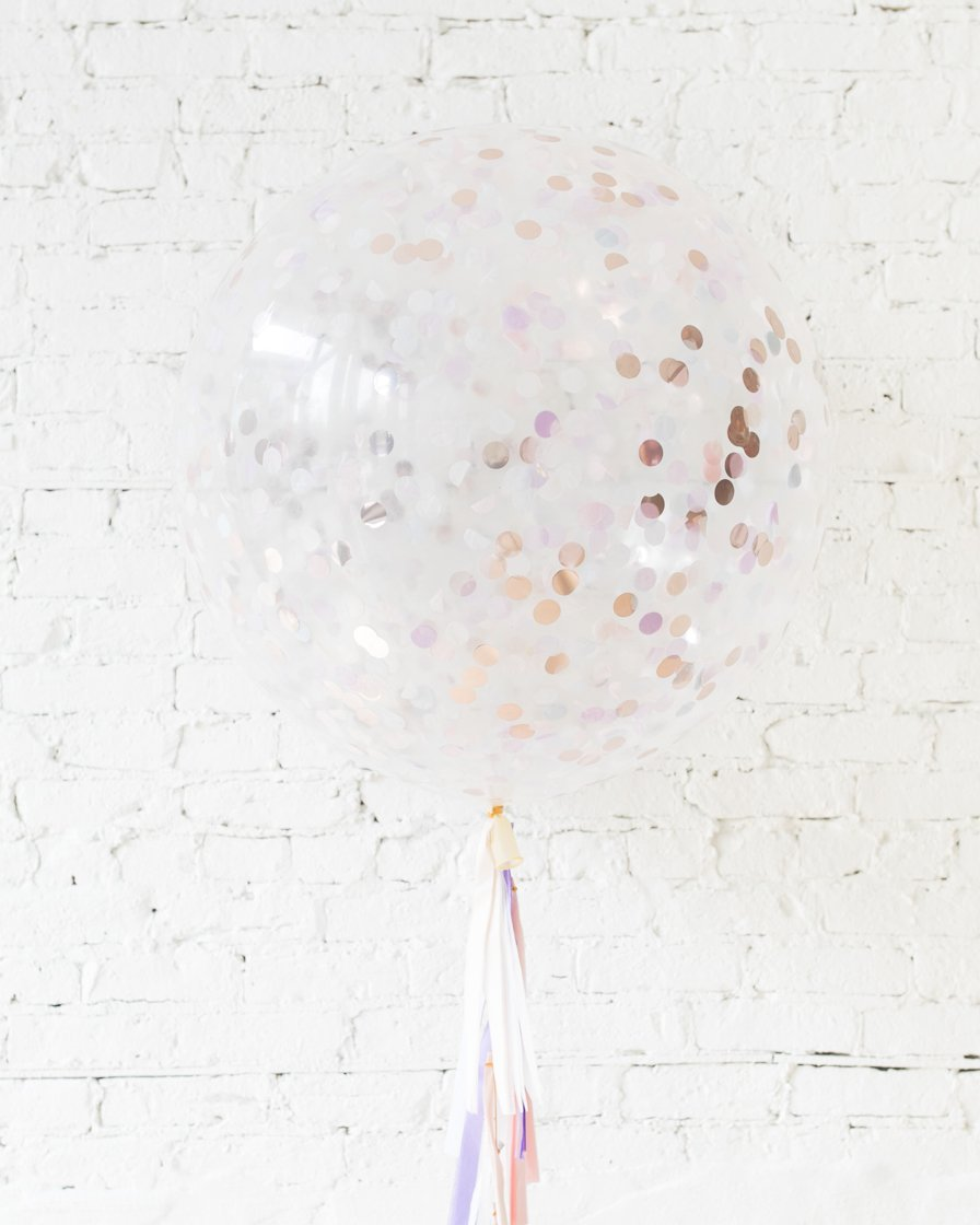 Большой шар с круглым конфетти русалковый на гирлянде